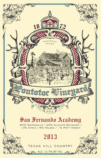 2013 San Fernando Academy Texas Wine by Pontotoc Vineyard, Tempranillo, Alicante Bouschet, Syrah, Malbec, Petit Verdot